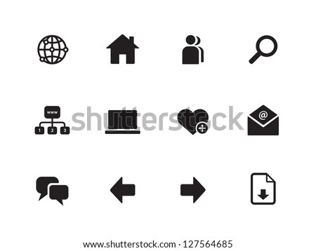 Website icons on white background. Vector illustration. - stock vector