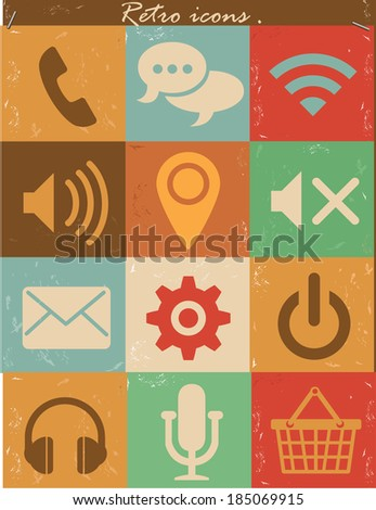 Website icons,Retro version,vector - stock vector