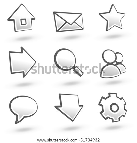 Website icons set 01: Grey variant. See more in my portfolio. - stock vector