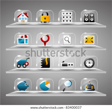 Website Icons set ,internet Transparent Glass Button - stock vector