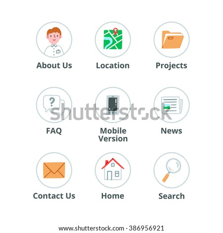 Website icons vector set, isolated on white background - stock vector