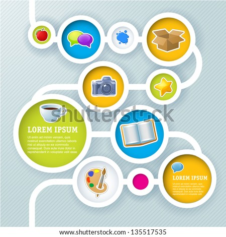 Website infographic sequence template, Vector design frame. - stock vector