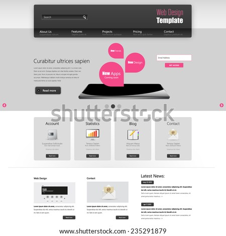 Website interface template vector design - stock vector