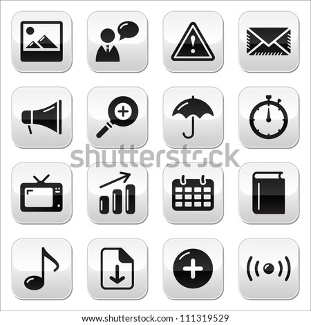 Website internet glossy sqaure buttons set - stock vector