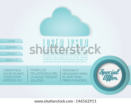 Website landing page with cloud computing. - stock vector