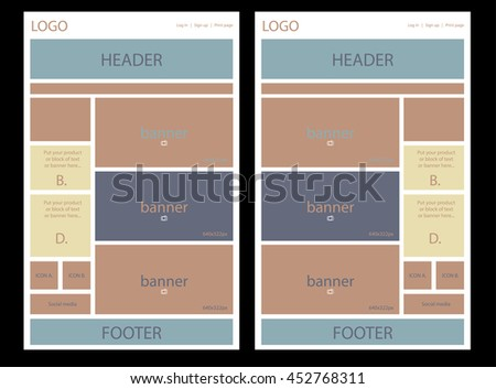 website layout for business or non-profit organization - stock vector