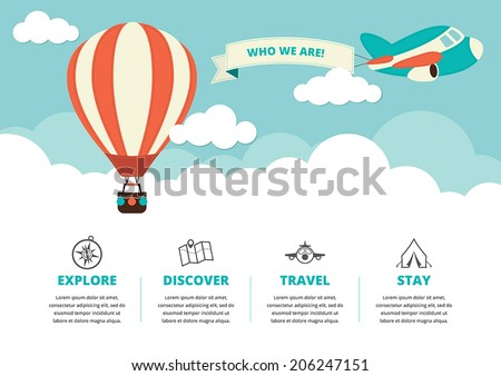 Website layout with a hot air balloon, a plane and travel icons - stock vector
