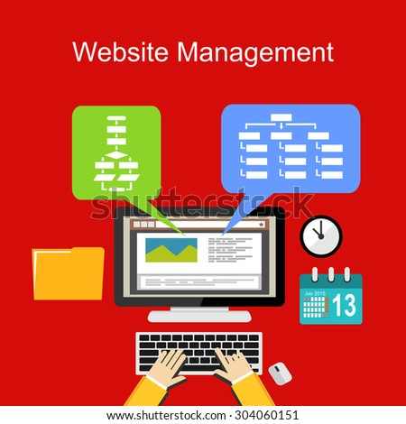 Website management illustration concept. Flat design. - stock vector