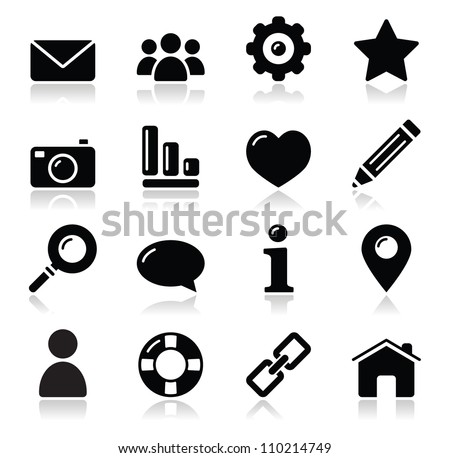 Website menu navigation black shiny icons - home, search, email, gallery, help, blog icons - stock vector
