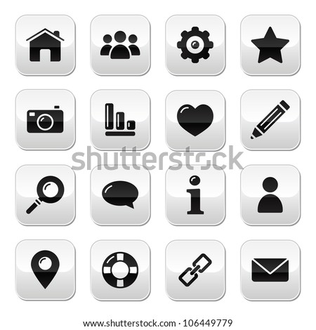 Website menu navigation buttons - home, search, email, gallery, help, blog icons - stock vector