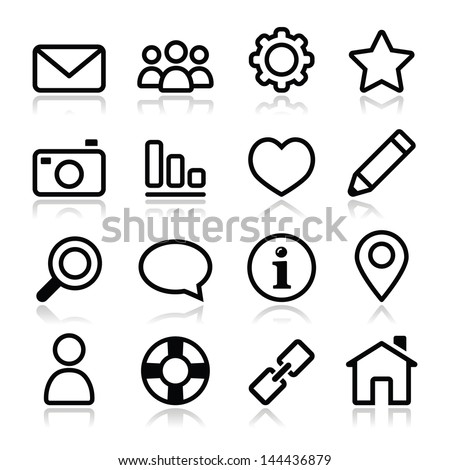 Website menu navigation stroke icons - home, search, email, gallery, help, blog icons