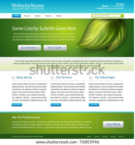 website nature template design - stock vector