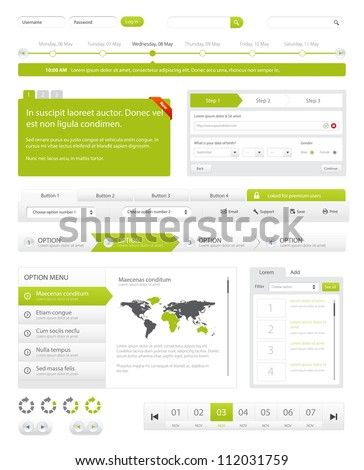 Website navigation collection set. Buttons, Sliders, Media Player, Login, Switchers/Website Navigation Pack - stock vector