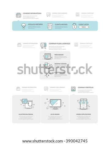 Website navigation elements with concept icons - stock vector
