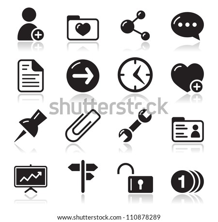 Website navigation icons set - stock vector