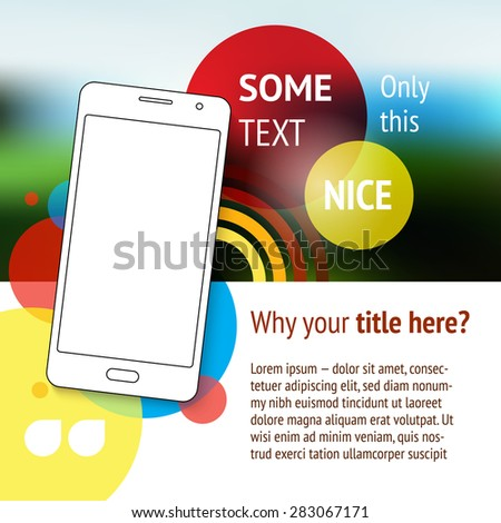 Website or page design with mobile phone. Advertisement. - stock vector