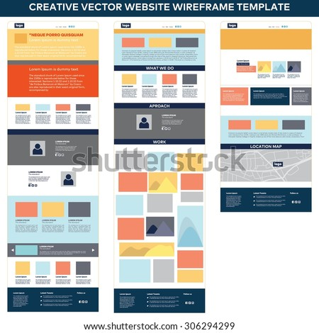 Website page template. Web design. Set of web page. website flat user interface and user experience kit elements. vector illustration - stock vector