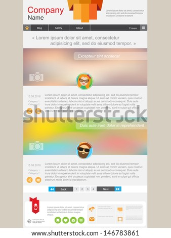 Website page with short news. Design include header, news and footer - stock vector