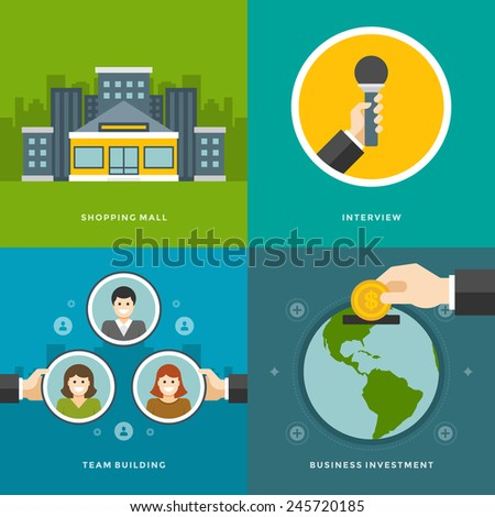Website Promotion Banners Templates and Flat Icons Design. Shopping mall, Interview, Team Building, Business investment. Vector Illustrations set.  - stock vector