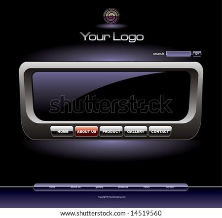 Website radio chrome template - stock vector