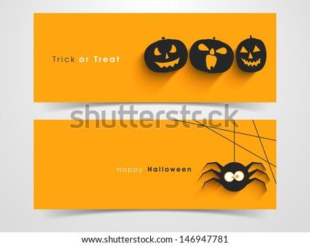 Website spooky header or banner set with Halloween pumpkin and spider. - stock vector