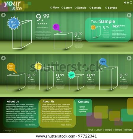 Website store template, vector - stock vector