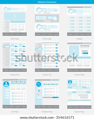 Website structure and Blue Web template simple vector