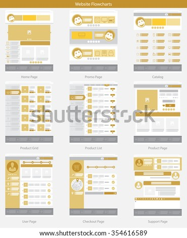 Website Structure Blue Web Template Simple Stock Vector 354616571 ...
