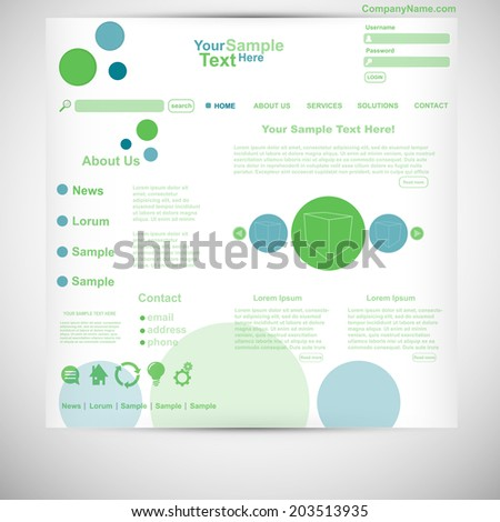 Website template circle website green blue - stock vector