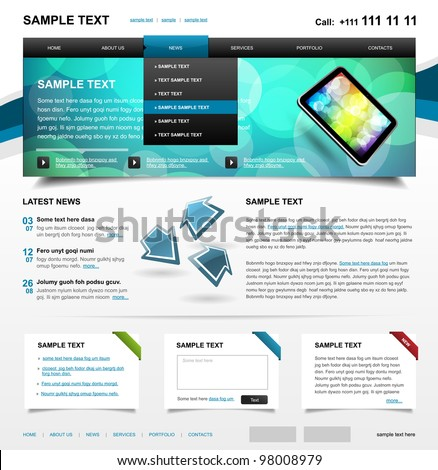 Website Template 4. Color variant 1 - stock vector