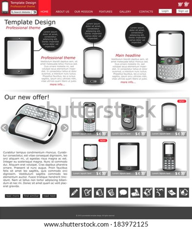 Website template design along with icons and images. Cellphone and wireless related - stock vector