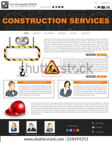 Website template design along with icons and images. Construction. - stock vector