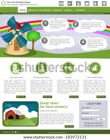 Website template design along with icons and images. Farm related. - stock vector