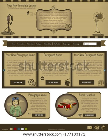 Website template design along with icons and images. Vintage. - stock vector