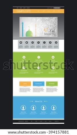 Website Template Design - Eid Mubarak Theme - stock vector