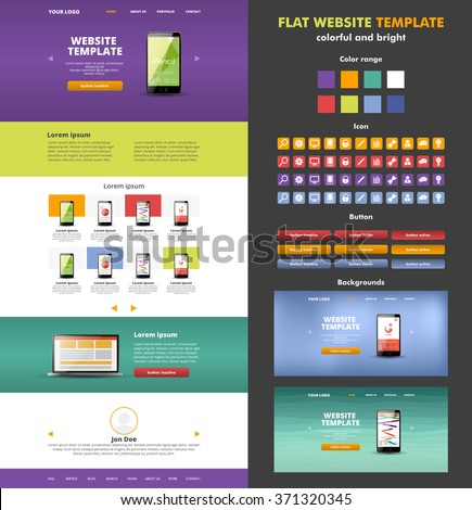 Website template design for your business. Colorful landing page. Modern website template design. Set of icons, buttons and backgrounds. EPS 10