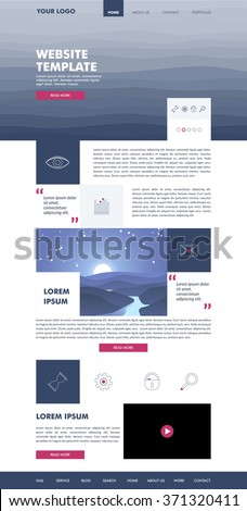 Website template design for your business in pink and blue colors. Modern flat website template design. Geometric design. EPS 10