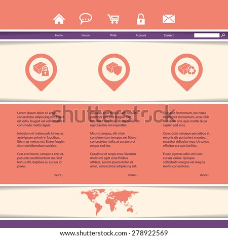 Website template design ideal for product or service presentation  - stock vector