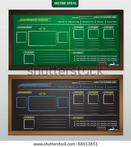 Website template design on blackboard. Vector template for design work - stock vector