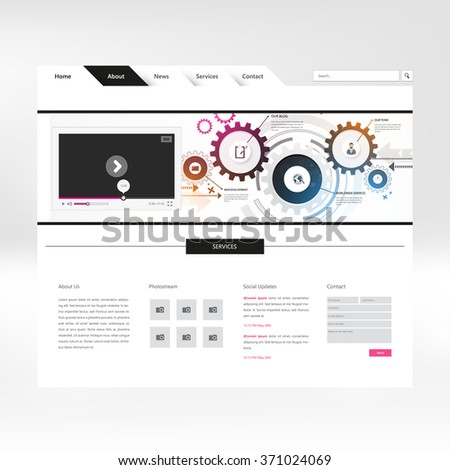 Website Template Design with abstract header - stock vector