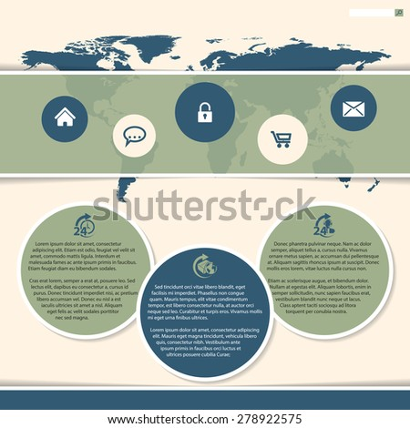 Website template design with bubble like presentation and world map - stock vector
