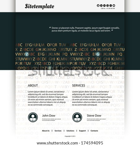 Website Template Design with Letter Background