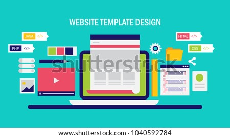 Website template development website redesign programming stock website template development website redesign programming and coding flat vector banner illustration with icons maxwellsz