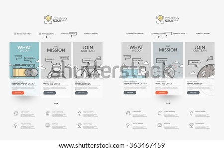 Website template elements collection: Set of two templates for personal or company business portfolio with concept icons.  - stock vector