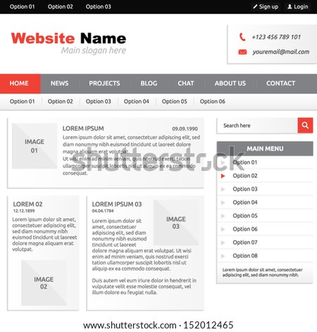 Website template (elements) with options, vertical menu, search box and horizontal menu - stock vector