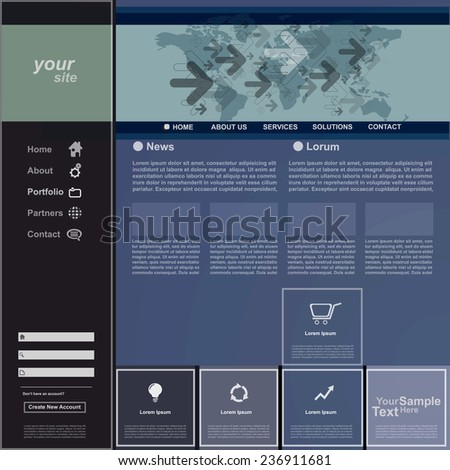 Website template for business, vector - stock vector