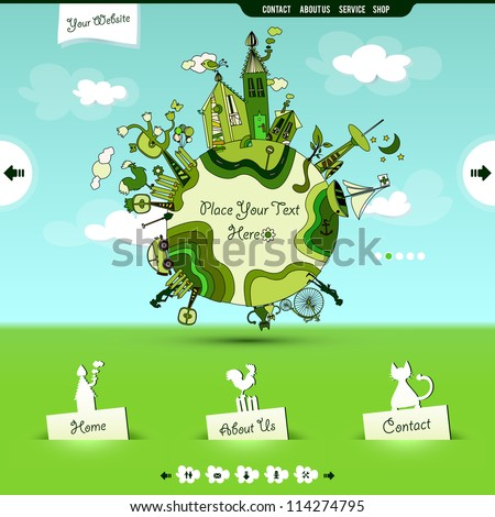 website template for company dealing with children's stuff - stock vector