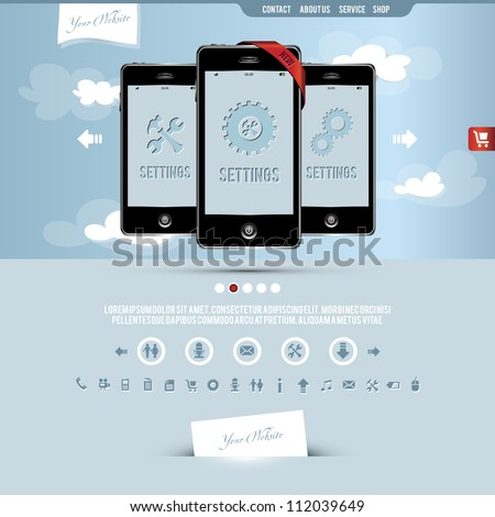 website template for smart phone and mobile phone company - stock vector