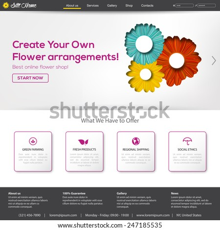 Website template for spring season, flower shop or start up business. Other vector elements for your design. - stock vector