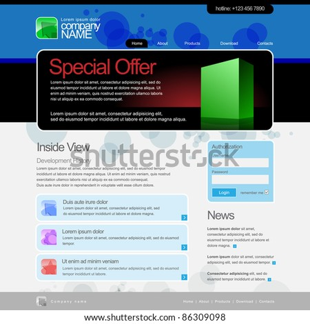 Website Template 960 Grid. Product page - stock vector